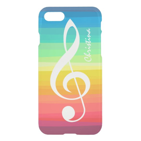 Personalized Rainbow Watercolor Treble Clef iPhone 7 Case