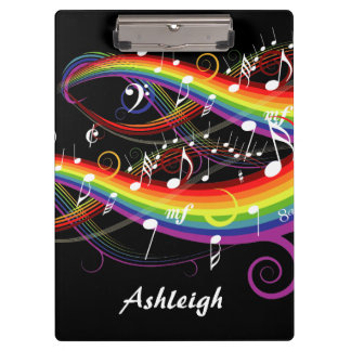 Personalized Rainbow White Music Notes on Black Clipboard