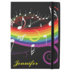 "Personalized Rainbow White Music Notes on Black iPad Pro 12.9"" Case"