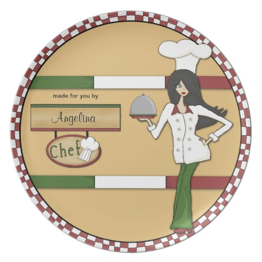 Personalized Raven Haired Chef Plate