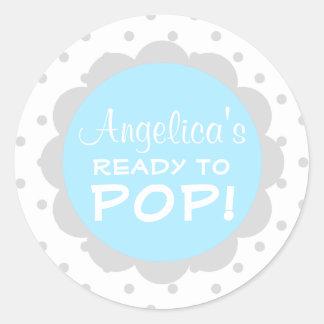 Personalized Ready to Pop Baby Shower Blue Boy Classic Round Sticker