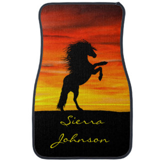 Personalized Rearing Black Horse at Sunset Car Floor Carpet