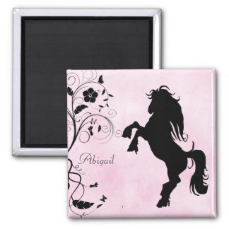 Personalized Rearing Horse and Flowers Magnet