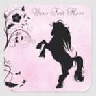 Personalized Rearing Horse and Flowers Stickers