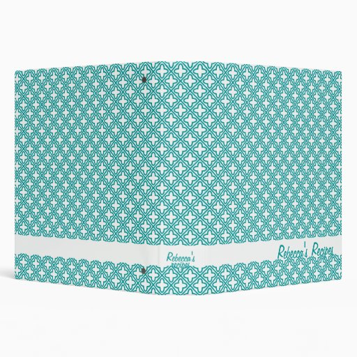 Personalized Recipe Book Binder, Turquoise