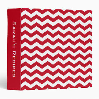 Personalized Recipe Red Chevron Stripes Pattern 3 Ring Binders