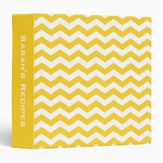 Personalized Recipe Yellow Chevron Cooking Binder
