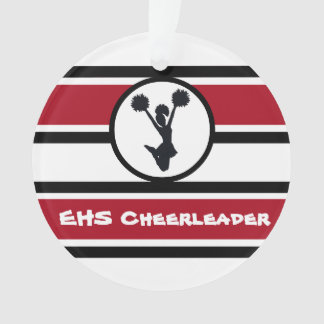 Personalized Red and Black Cheerleader Ornament