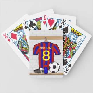 Personalized Red and Blue Football Soccer Jersey Bicycle Poker Deck