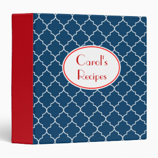 Personalized Red and Blue Recipe Binder