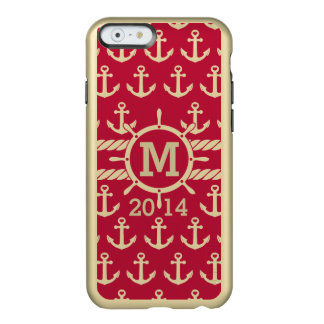 Personalized Red and Gold Nautical Anchors Pattern Incipio Feather® Shine iPhone 6 Case