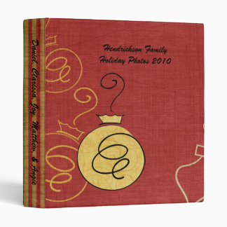 Personalized Red and Gold Ornament Photo Binder