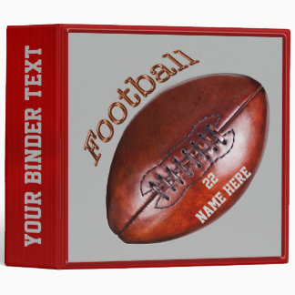 Personalized Red and Gray Football Binder
