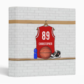 Personalized Red and White Basketball Jersey 3 Ring Binders