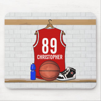 Personalized Red and White Basketball Jersey Mousepads