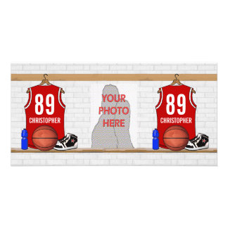 Personalized Red and White Basketball Jersey Picture Card