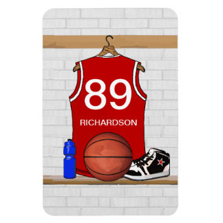 Personalized Red and White Basketball Jersey Rectangular Photo Magnet