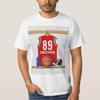 Personalized Red and White Basketball Jersey T-Shirt