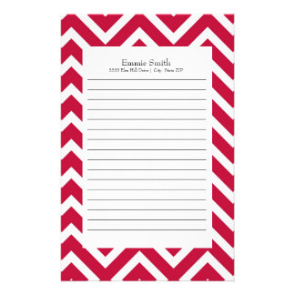 Personalized Red and White Chevron Pattern Stationery