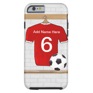 Personalized Red and White Football Soccer Jersey Tough iPhone 6 Case