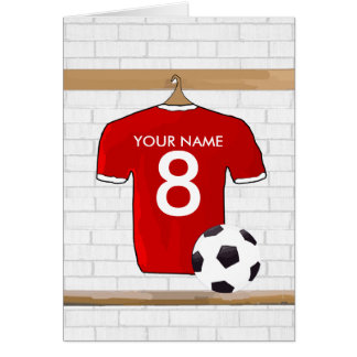 Personalized Red and White Football Soccer Jersey Greeting Card