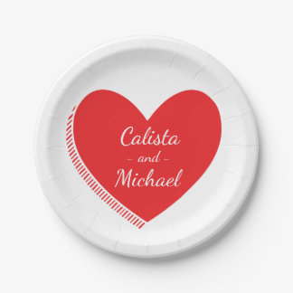 Personalized Red And White Heart - Wedding, Bridal 7 Inch Paper Plate