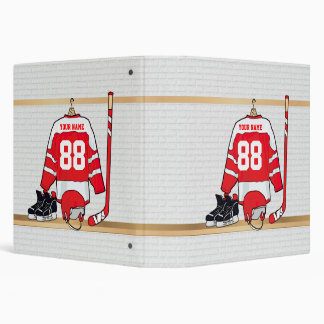 Personalized Red and White Ice Hockey Jersey Binder