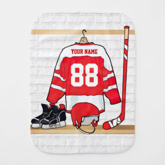 Personalized Red and White Ice Hockey Jersey Burp Cloths