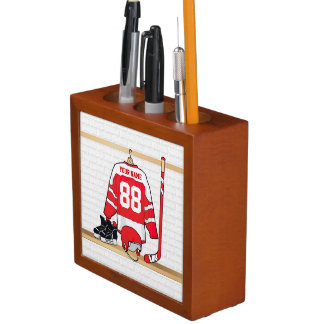 Personalized Red and White Ice Hockey Jersey Desk Organizers