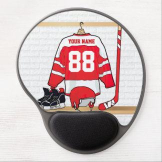 Personalized Red and White Ice Hockey Jersey Gel Mouse Pad