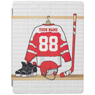 Personalized Red and White Ice Hockey Jersey iPad Smart Cover
