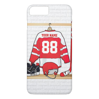 Personalized Red and White Ice Hockey Jersey iPhone 7 Plus Case