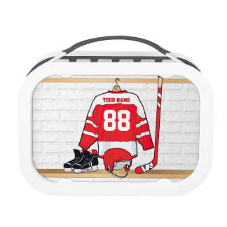 Personalized Red and White Ice Hockey Jersey Lunchboxes