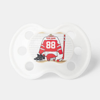 Personalized Red and White Ice Hockey Jersey Pacifier