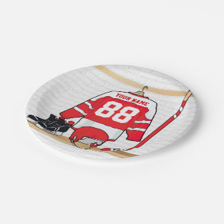 Personalized Red and White Ice Hockey Jersey Paper Plate