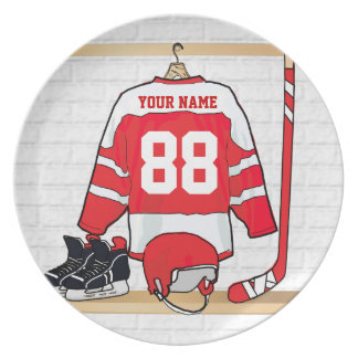 Personalized Red and White Ice Hockey Jersey Plate