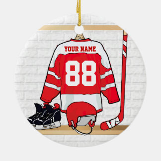 Personalized Red and White Ice Hockey Jersey Round Ceramic Ornament