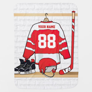 Personalized Red and White Ice Hockey Jersey Stroller Blanket