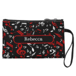 Personalized Red and white Musical notes on black Wristlet