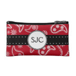 Personalized Red and White Paisley Pattern Country Cosmetics Bags