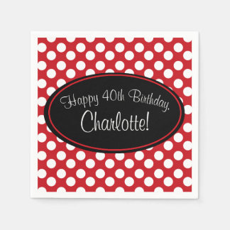 Personalized Red and White Polka Dot Paper Napkin