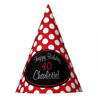 Personalized Red and White Polka Dot Party Hat