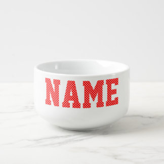 Personalized Red and White Polka Dot Soup Mug