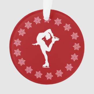 Personalized Red and White Snowflake Figure Skater Ornament
