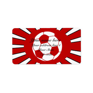 Personalized red and white soccer design custom address labels