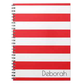 Personalized Red and White Striped Notebook