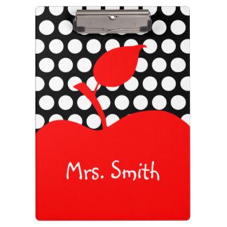 Personalized Red Apple Black and White Polka Dot Clipboard
