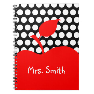 Personalized Red Apple Black and White Polka Dot Notebook