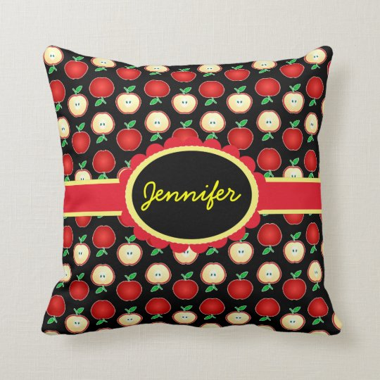 Personalized Red Apples Throw Pillow