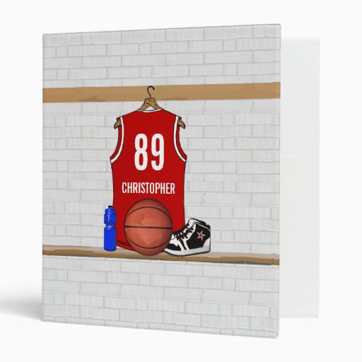 Personalized Red Basketball Jersey Binders